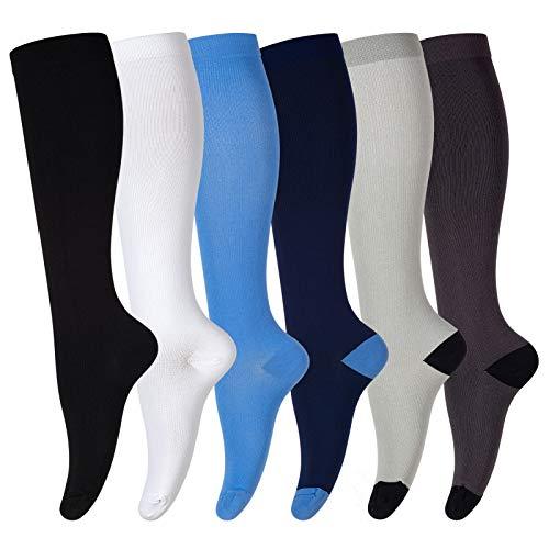 Calcetines de compresión para Hombres y Mujeres (6 Pares), Tubo Largo Antideslizante, Ideales para Correr, enfermería, Senderismo, Viajes y vuelos, Calcetines de 20 a 30 mmHg