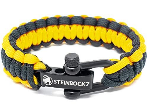 Steinbock7 Paracord Survival Armband, Gelb-Schwarz - Glanz-Edelstahl Verschluss Einstellbar, Inklusive Anleitung zum Flechten