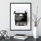 Impresión de imagen perfecta en lienzo Carteles e impresiones de máquina de escribir vintage Fotografía en blanco y negro Oficina retro Decoración del hogar -40x50cm Sin marco