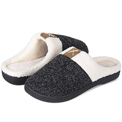 IceUnicorn Winter Hausschuhe Herren Damen Memory Foam Plüsch Wärme Home rutschfeste Slippers wollähnliche für Drinnen und Draußen(Alles Schwarz, 44/45EU)
