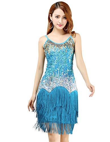 FEOYA Latein Tanzkleid Damen Quaste Pailletten Kleid Ärmellos Party Mini Cocktail Flapper A-Linie Trägerkleid Cocktailkleid-Blau