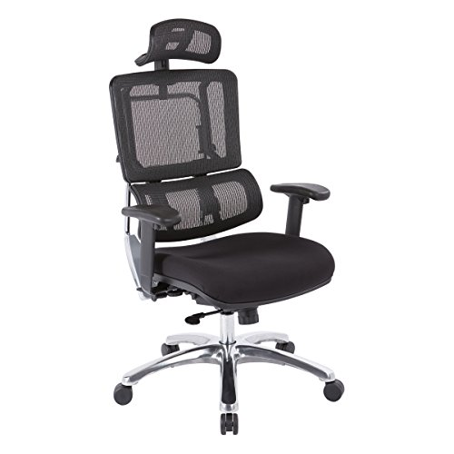 Office Star Pro X996 Series Manager's Office Chair with Breathable Black Mesh Back and Adjustable Headrest, Height and Lumbar Support, Polished Aluminum Base, Padded Seat with Coal FreeFlex Fabric