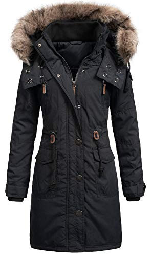 Top Fuel Fashion Damen Mantel Winterparka Wanda Fellkapuze Black XL