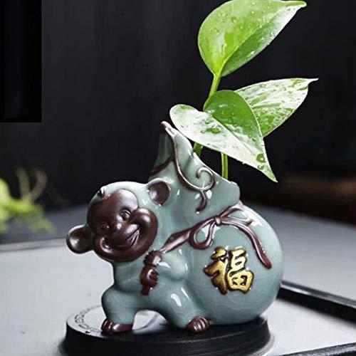 Maceteros Inicio Hidroponía botella de cerámica de cerámica Arreglo Decoración japonesa Flor Tiesto Zen Centro de flores en forma de mono creativo Celadon Tiesto Macetas de jardín para Interiores y Ex