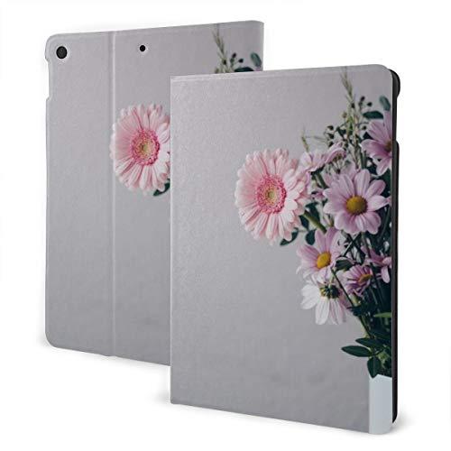 Roze Bloemen In Witte Vaas IPad Lederen Hoes, Zachte Rubber Back Cover, Verstelbare Standaard, Automatische Wake/Slaap Smart Case, Geschikt voor Ipad Air3 10.5
