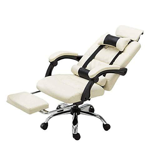 CTO Presidente de masaje Gaming - Respaldo Alto Racing PC de la computadora de escritorio silla de cuero de oficina Silla giratoria adecuada Ejecutivo con reposapies y reposabrazos regulables,Blanco