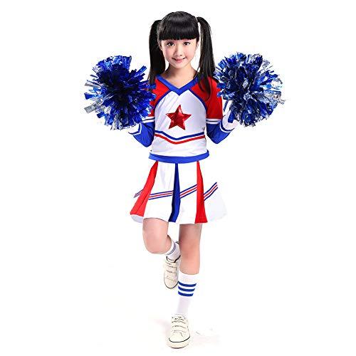 G-Kids Chica Joven de Animadora Disfraz Cheer Leading Uniforme Nios Carnaval Navidad Party Halloween Disfraz Jazz Ropa con 2Pompones Calcetines, Nias, 120 cm