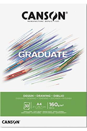 Canson Graduate Dibujo Bloc Encolado A4 30H Fino 160g Blanco Natural