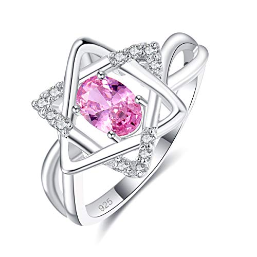 Narica Oval Sapphire Quartz 925 Plated Sterling Silver Women's Hexagonal Star Woven Rings CZ Size 7