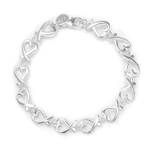 NYKKOLA Fashion Beautiful 925 Sterling Silver plated Heart Circle LOVE Clock Bracelet,for Women