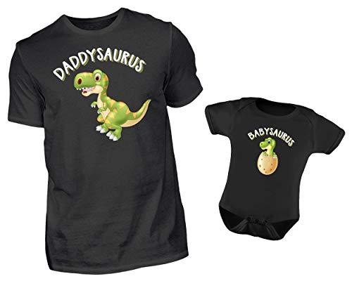Vater Baby Partnerlook Set T-Shirt Und Baby Body Strampler Daddysaurus Und Babysaurus (M & 0-6 Monate)