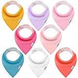 Linlook Baby Dreieckstuch Lätzchen - Spucktuch Baumwolle Saugfähig Weich Halstücher für Baby Jungen und Mädchen Einfarbig 8er (Farbe-05)