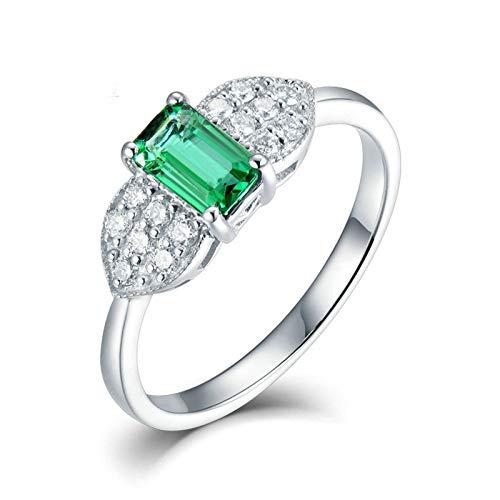 Daesar Anillo Oro Blanco 18 Kilates Mujer,Rectángulo Esmeralda Verde 1ct Diamante 0.3ct,Plata Verde Talla 21
