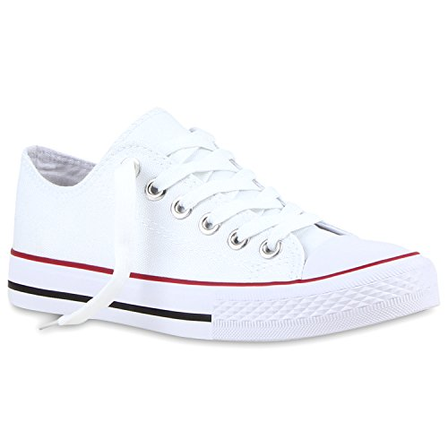 stiefelparadies Modische Damen Schuhe Sneakers Low Freizeit Canvas Schuhe Komfort 118907 Weiss Rotstreifen 38 Flandell