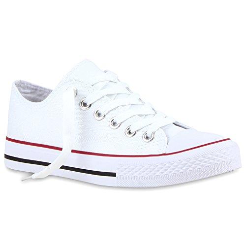 stiefelparadies Modische Damen Schuhe Sneakers Low Freizeit Canvas Schuhe Komfort 118907 Weiss Rotstreifen 42 Flandell