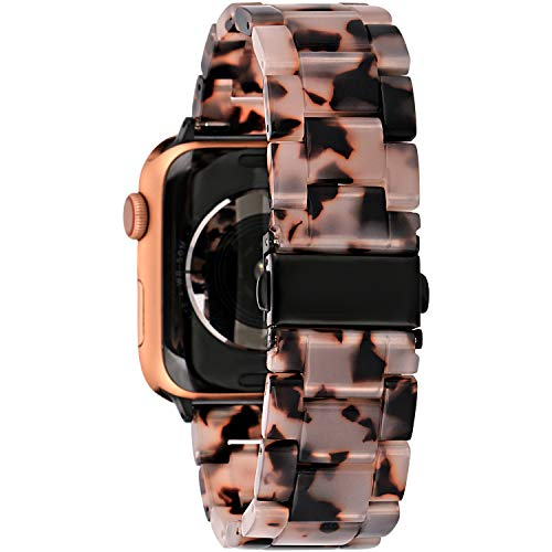 Gsmartive Resin Compatible with iWatch band Women Men with Stainless steel Buckle,Lightweight Fashionable Strap Replacement Compatible for iWatch Series 5 4 3 2 1 GA38