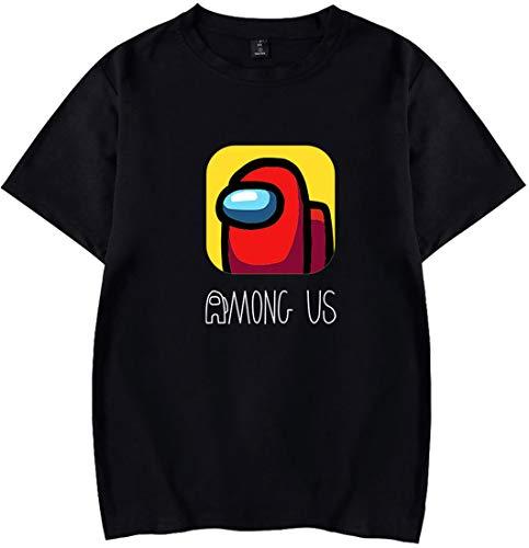 EMILYLE メンズ Tシャツ 半袖 Among Us 無地 人気 人狼ゲーム アメリカ マルチプレイヤー オシャレ 図案ロゴ ブラック M