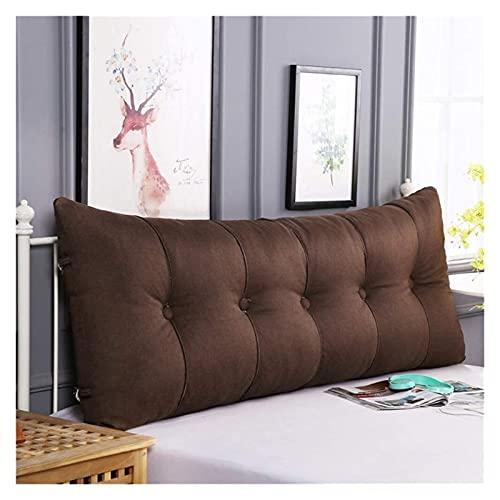 Leinen Sofa Daybed Kissen Wedge weiche Kopfkissen Bedside Bed Zurück Positionierung Unterstützung Lendenkissen milchig weiß 180x60x20cm (Color : Brown, Size : 60x60x20cm(24x24x8inch))