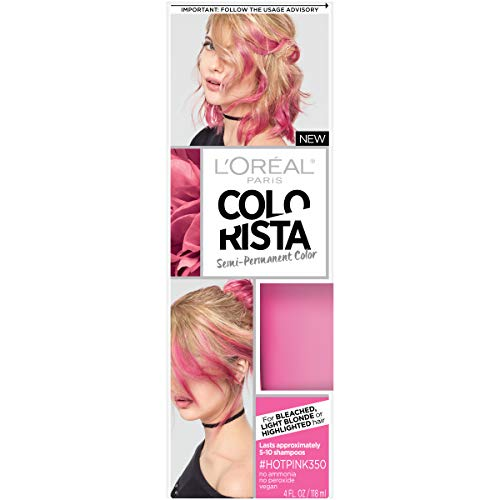 L'Oreal Paris Colorista Semi-Permanent Hair Color for Light Blonde or Bleached Hair, Hot Pink