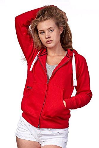 Happy Clothing Damen Sweatjacke mit Kapuze Zip Hoodie Kapuzenjacke Basic Einfarbig S M L, Größe:M, Farbe:Rot