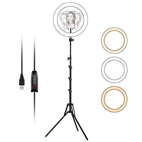 LED Ringlicht mit Stativ, 10'/26cm Dimmbare Ringleuchte, Selfie Ring Light mit Handyhalterung und Schlauch Erhöhen, USB-Stromversorgung, Licht Kreis Ring...