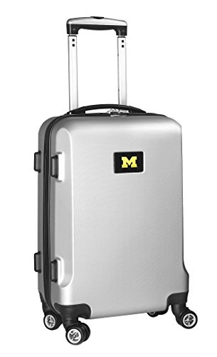 Denco NCAA Michigan Wolverines Carry-On Hardcase Luggage Spinner, Silver