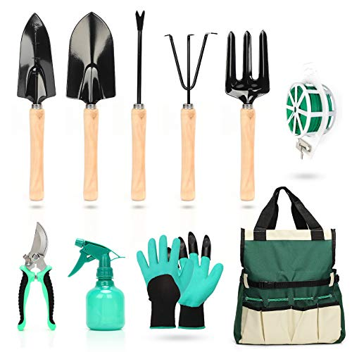 Garden Tools Set, 6 Piece Stainless Steel Heavy Duty Garden Tools Kit with Ergonomic Handle, Durable Storage Tote Bag, Indoor and Outdoor Hand Tools, Garden Gift for Men and Women
