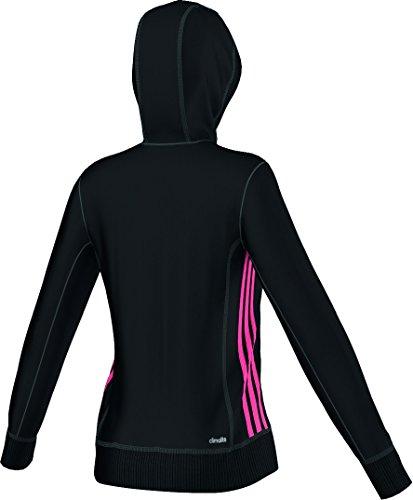 adidas ESS Mid 3S HD - Sudadera para mujer, color negro / rosa, talla XXL