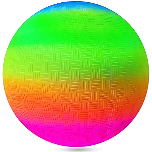 Kicko Rainbow Playground Ball - 16 Inch Neon Colored Giant Play Bouncer - Perfect Accessory on...