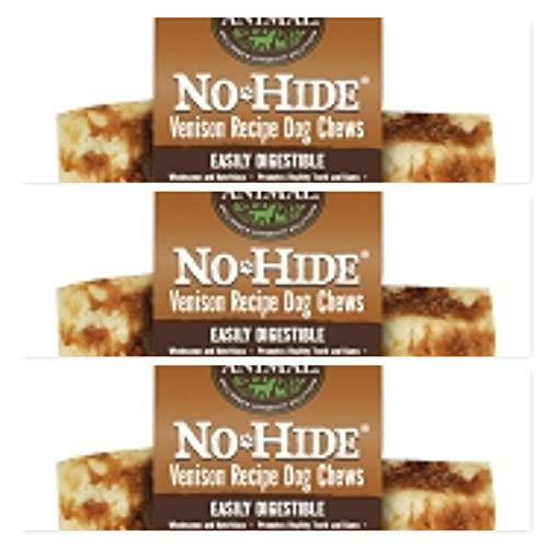 Earth Animal No Hide Raw Hide Dog Chews, Dog Treats. (Venison) 3 Pack 7 Inch ea. The Safe Alternative to Raw Hide!!!