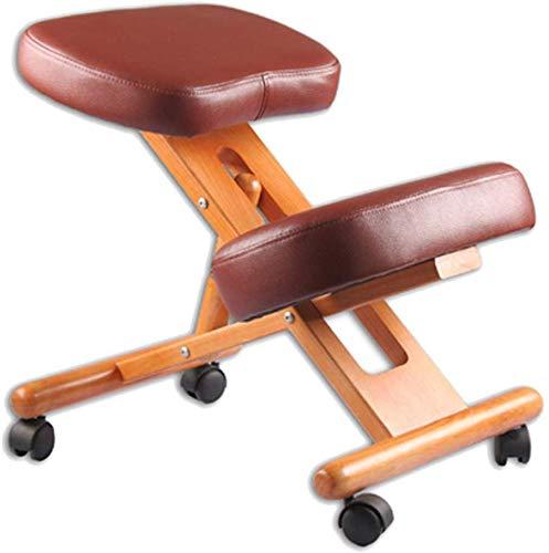 QTQZDD kniestoel, massief houten frame op wielen, correctie zitten, voorkomt myopie, in hoogte verstelbare montage-leren stoel (kleur: bruin, afmetingen: 45 x 57 x 68 cm) 1 1