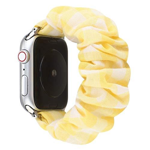 Desqueena Reloj Serie 6 & SE & 5 & 4 44mm / 3 & 2 & 1 42mm Pattern Pattern Cloth + Reloj de Reloj de Cabello de Acero Inoxidable para Apple, StarLightd (Color : Yellow)