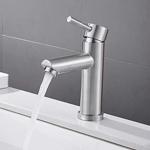 ATopoler Wasserhahn für Badezimmer, Einhebelmischer, Waschtischarmatur aus Messing, warmes und kaltes Wasser, verstellbar für Waschbecken Bidet Waschbecken (Silber)