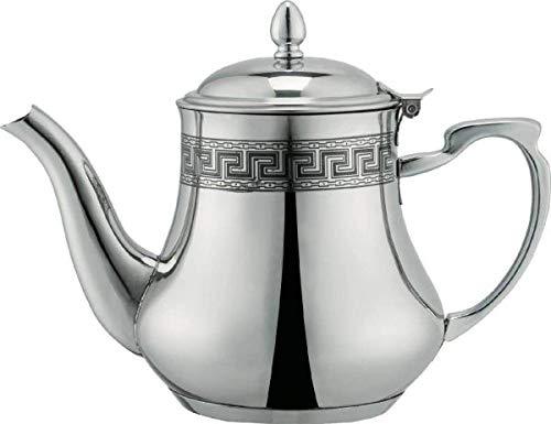 Orientalische Induktions-Teekanne 1,5 L, Orientalisch Teapot aus Messing, mit integriertem Filter, traditionelles Modell, Arabische Kanne silberfarbig mit Deckel, Teekocher, Teewärmer & Teebereiter