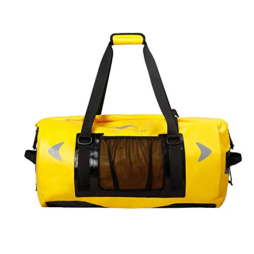 Waterproof Dry Duffel Bag, 65L Lightweight Airtight Storage Bag with 3 Drainage Vents for Motorcycle, Kayaking, Rafting, Skiing, Travel, Hiking, Camping,C