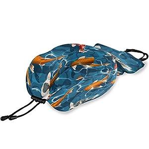 QMIN Almohada de Viaje japonés Koi Fishes, Espuma viscoelástica para el Cuello, Almohada ergonómica en Forma de U para el Cuello, Kit de Viaje para Aviones Largos y Trenes de Coche