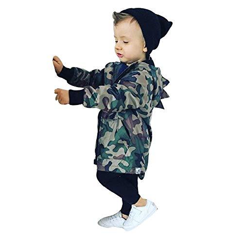 Emmay Kinder Softshelljacke Jungen Kinder Dinosaurier Baby Wesentlich Boy Camouflage Kapuzen Windbreaker Tops Mantel Jacke Kleidung (Color : Tarnen, Einheitsgröße : 120)