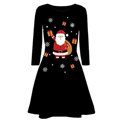 OverDose Damen Frohe Weihnachten Frauen Printed Long Sleeve Abend Prom Party Tanz Cosplay Schlank Kostüm Swing Kleid Rock