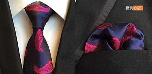 LOOEST Hohe Qualität Plaid Figur Linie Hochzeit Krawatte Taschentuch Männer Krawatte und Einstecktuch Set Für Männer (Color : 65)