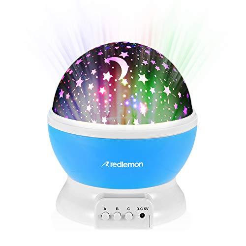 Redlemon Lámpara Proyector de Estrellas Giratorias para Niños, con Luz LED de Colores y 3 Modos de Iluminación, Portátil, Funciona con Cable Adaptador USB o 4 Baterías AAA (no incluidas). Azul