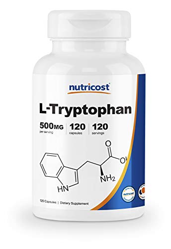 Nutricost L-Tryptophan 500mg, 120 Capsules - with BioPerine, Gluten Free, Non-GMO