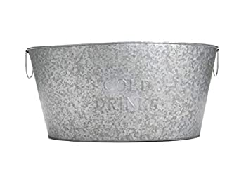 Mind Reader Round Galvanized Steel Beverage Tub with Handles Party Basket for Drinks Ice Rustic Storage Container for Toys Firewood Crafting Supplies Large Silver