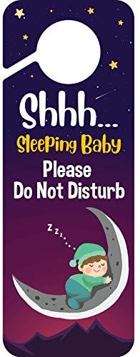 Baby Sleeping Sign | Please Do Not Disturb | Plastic Door Knob Hanger Sign
