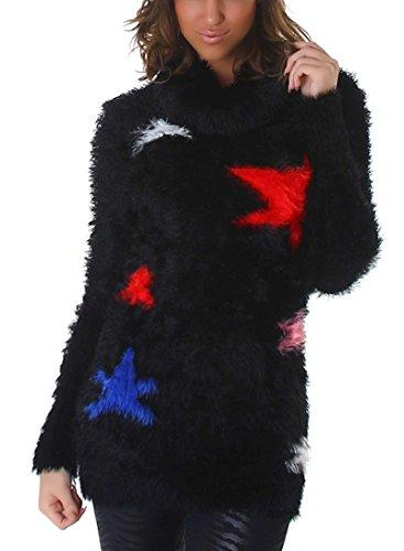 Reckon Damen Kuschel Pullover Fransen warm weich flauschig Sterne Motiv Longpulli Strickkleid weich zart flauschig Rollkragen, Schwarz