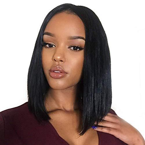BLISSHAIR Bob Perücke Lace Front Wig,12' Short Bob Human Hair Wig 150% Dichte Straight Brasilianisches Virgin Remy Echthaar Schwarze Perücke mit natürlichem Haaransatz