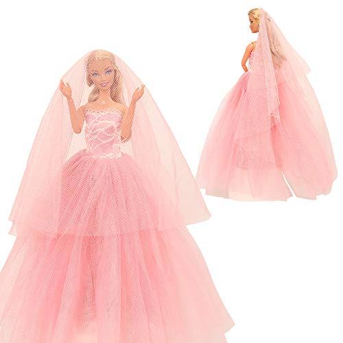 Miunana Ballkleid Prinzessin Kleidung Kleider mit Brautschleier für 11,5 Zoll Mädchen Puppen Weihnachten Geschenke (PInk)