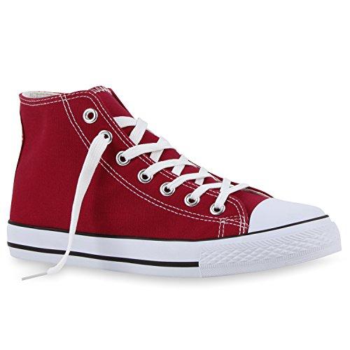 stiefelparadies Herren Sneakers High Top Basic Turn Freizeit Schuhe 112658 Burgund 43 Flandell