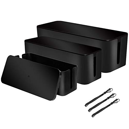 [Set of 3] 3 Cable Management Boxes + 3 Wire Ties, Large Cord Box Organizers to Hold and Hide Power Strip Charger Adapter Power Cord Charging Station USB HUB (Black)