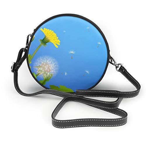 Wrution Pusteblume Busch fliegende Samen, blauer Hintergrund, Vektorbild, personalisierbar, runder Reißverschluss, Schultertasche aus weichem Leder