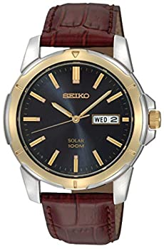 Seiko Men s SNE102 Stainless Steel Solar Watch with Brown Leather Strap Multicolor dial